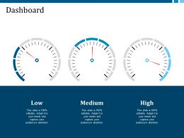 Dashboard Low Medium High Ppt Visual Aids Infographic Template