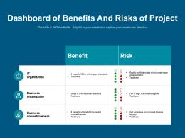 Dashboard Of Benefits And Risks Of Project