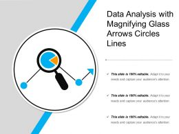 Data Analysis With Magnifying Glass Arrows Circles Lines