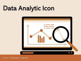 Data Analytic Icon Business Growth Analysis Gear Magnifying Glass Dashboard