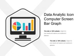 Data Analytic Icon Computer Screen Bar Graph