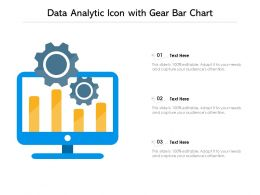 Data Analytic Icon With Gear Bar Chart