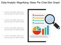 Data Analytic Magnifying Glass Pie Chart Bar Graph