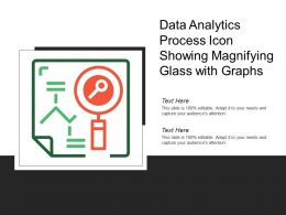 Data Analytics Process Icon Showing Magnifying Glass With Graphs