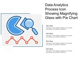 Data Analytics Process Icon Showing Magnifying Glass With Pie Chart