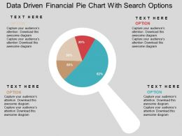 Data Driven Financial Pie Chart With Search Options Powerpoint Slides
