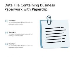 Data File Containing Business Paperwork With Paperclip