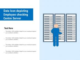 Data Icon Depicting Employee Checking Centre Server