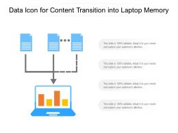 Data Icon For Content Transition Into Laptop Memory