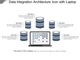 Data Integration Architecture Icon With Laptop Example Of Ppt