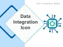 Data Integration Icon Cloud Computer Gear Storage Arrows Square Puzzle