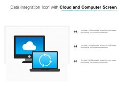 Data Integration Icon With Cloud And Computer Screen
