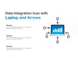 Data Integration Icon With Laptop And Arrows