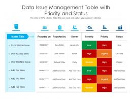 Data Issue Management Table With Priority And Status
