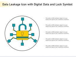 Data Leakage Icon With Digital Data And Lock Symbol