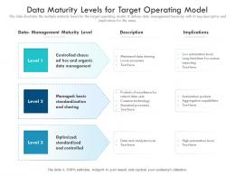 Data Maturity Levels For Target Operating Model