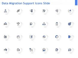 Data Migration Support Icons Slide Ppt Powerpoint Presentation Summary Topics