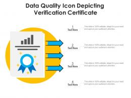 Data Quality Icon Depicting Verification Certificate
