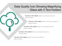 Data Quality Icon Showing Magnifying Glass With 5 Text Holders