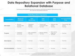 Data Repository Expansion With Purpose And Relational Database