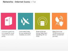 Data Server Satellite Antenna Database Safe Network Ppt Icons Graphics