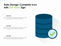 Data Storage Complete Icon With Tick Mark Sign