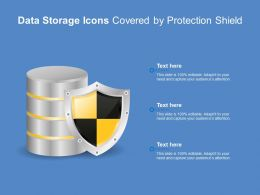 Data Storage Icons Covered By Protection Shield