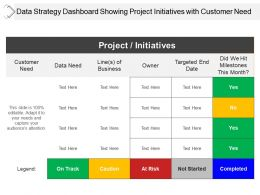 Data Strategy Dashboard Showing Project Initiatives With Customer Need