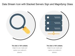 Data Stream Icon With Stacked Servers Sign And Magnifying Glass