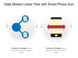 Data Stream Linear Flow With Smart Phone Icon