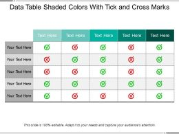 Data Table Shaded Colors With Tick And Cross Marks