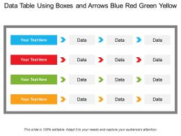 Data Table Using Boxes And Arrows Blue Red Green Yellow