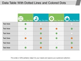 Data Table With Dotted Lines And Colored Dots