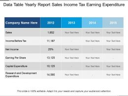 Data Table Yearly Report Sales Income Tax Earning Expenditure