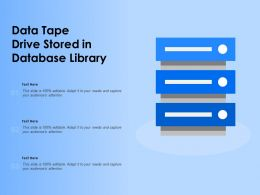Data Tape Drive Stored In Database Library