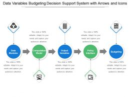 Data Variables Budgeting Decision Support System With Arrows And Icons