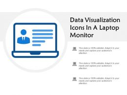 Data Visualization Icons In A Laptop Monitor