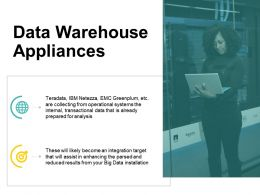 Data Warehouse Appliances Big Data Installation Ppt Powerpoint Presentation Inspiration Deck