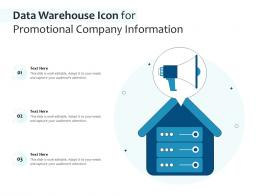 Data Warehouse Icon For Promotional Company Information