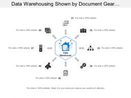 Data Warehousing Shown By Document Gear And Cloud Icon