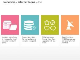 Database Folder Tags Satellite Communication Ppt Icons Graphics