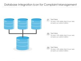 Database Integration Icon For Complaint Management