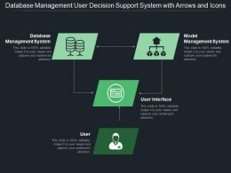 Database Management User Decision Support System With Arrows And Icons