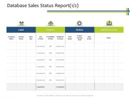 Database Sales Status Report Finance CRM Process Ppt Powerpoint Presentation Gallery Graphics