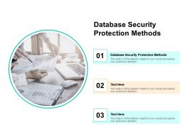 Database Security Protection Methods Ppt Powerpoint Presentation Ideas Templates Cpb