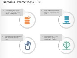 Database Server Recycle Bin Global Network Ppt Icons Graphics