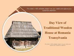 Day View Of Traditional Wooden House At Romania Transylvania