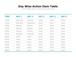 Day Wise Action Item Table