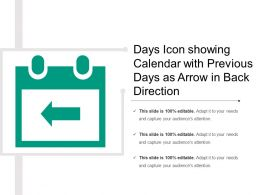 Days Icon Showing Calendar With Previous Days As Arrow In Back Direction