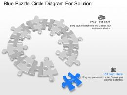 Db Blue Puzzle Circle Diagram For Solution Powerpoint Template
